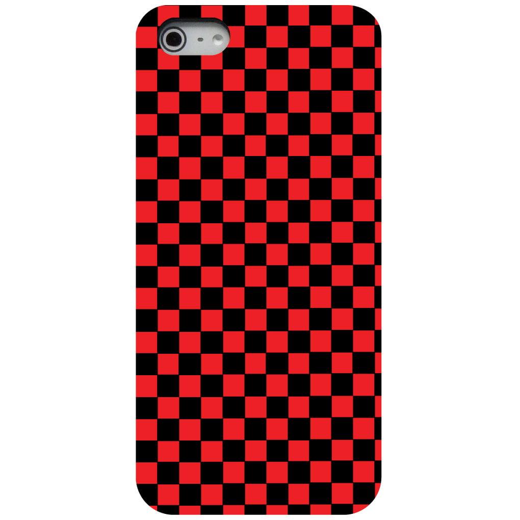 CUSTOM Black Hard Plastic Snap-On Case for Apple iPhone 5 / 5S / SE - Red Black Checkered Flag Geometric