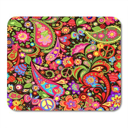 LADDKE Hippie Vivid Decorative Wallpaper with Colorful Flowers Peace Symbol and Mousepad Mouse Pad Mouse Mat 9x10 inch