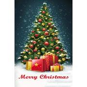 "Merry Christmas Tree Garden Flag - 12"" x 18"", Double Sided, Winter Garden Decor, Red, Green, White, Yellow"