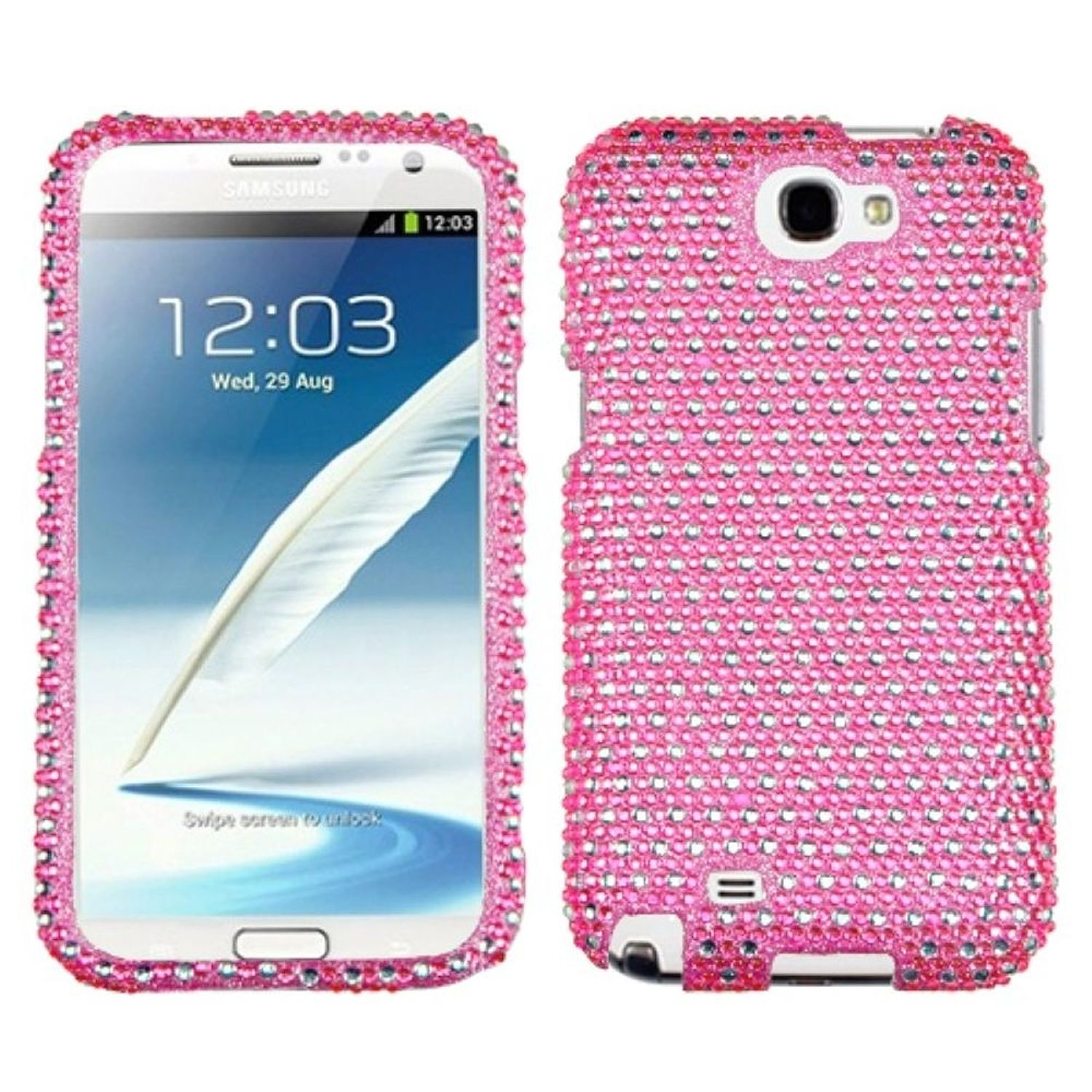 Insten Dots(Pink/white) Diamante Phone Case for SAMSUNG: Galaxy Note II (T889/I605/N7100)