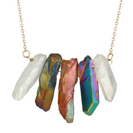 iLH Mallroom Natural Stone Crystal Rock Necklace Gold Plated Quartz Pendant