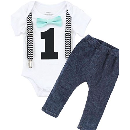 Noah's Boytique Boys Cake Smash Outfit First Birthday Black Chevron Suspenders Mint Bow Tie and Stretchy Jean Pants with Removable Number One 18-24 Months (First Birthday Boy Outfit)