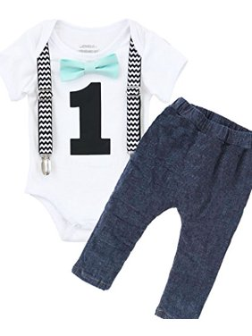 21bac84f3 Product Image Noah s Boytique Boys Cake Smash Outfit First Birthday Black  Chevron Suspenders Mint Bow Tie and Stretchy
