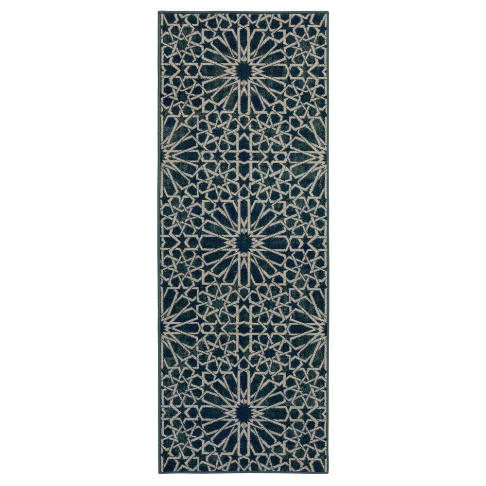 Ottomanson Authentic Collection Contemporary Blue Geometric Pattern Design Area or Runner Rugs
