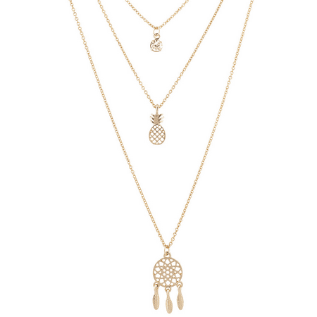 Lux Accessories Gold Tone Crystal Stone Pineapple Dream Catcher Layered Necklace ()