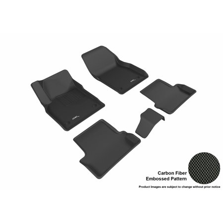 3D Maxpider Stylish Custom Fit All Weather Floor Mats For 2016 2017 Buick Cascada Front   Second Row In Black With Carbon Fiber Look