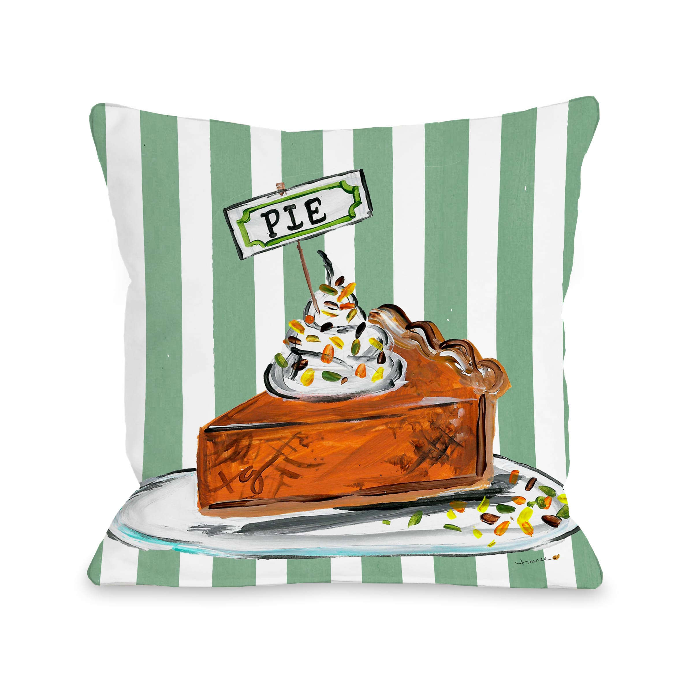 Fall Pumpkin Pie - Green 16x16 Pillow by Timree