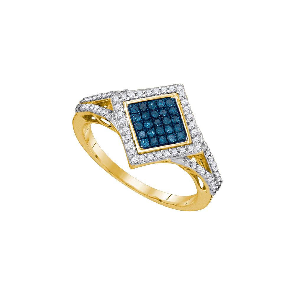 10kt Yellow Gold Womens Round Blue Colored Diamond Diagonal Square Cluster Ring 1 3 Cttw by Jewels By Lux