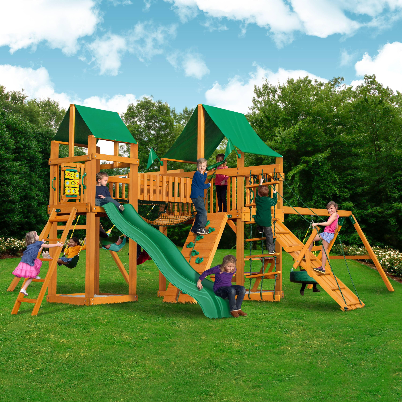 Gorilla Playsets Pioneer Peak Wooden Swing Set With Green Vinyl