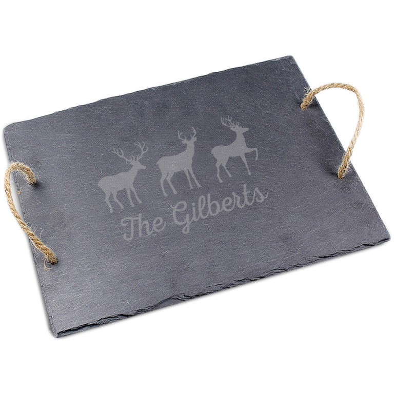Personalized Holiday Slate Tray - Multiple Designs Available
