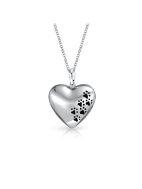 453158b1d803 Product Image Dog Cat Pet Kitten Puppy Black Paw Prints Heart Shape Pendant  Necklace For Women For Teen