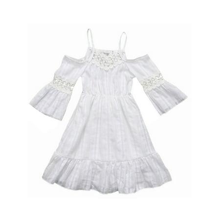 Princess Girl Floral Lace Off-Shoulder Wedding Dress Beach Sundress (110/3-4 Years) ()