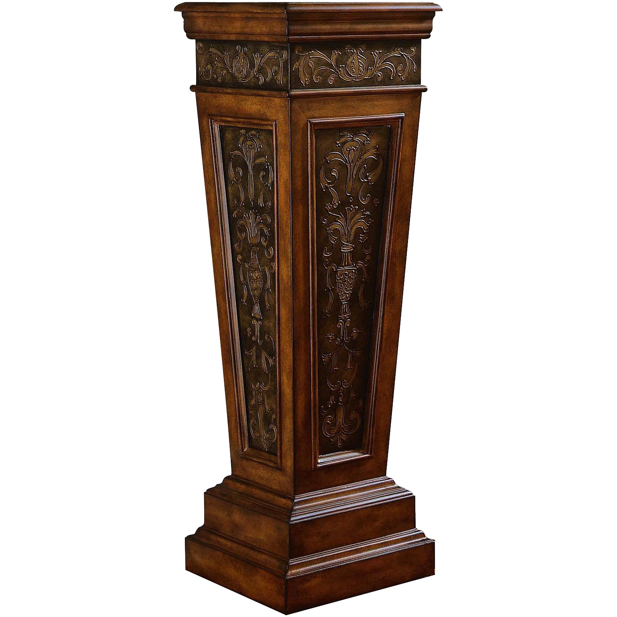 Pulaski Furniture Scroll Detail Accent Pedestal Dark Brown
