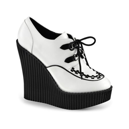 womens white wedges shoes platform booties vegan leather creepers shoes 5  in (5 Inch Platform Sneakers)