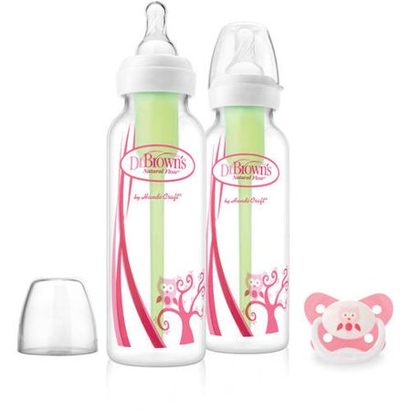 Dr. Brown's Options Baby Bottles and Pacifier Set, 8 Ounce, Pink Owl, 2 Count for $<!---->