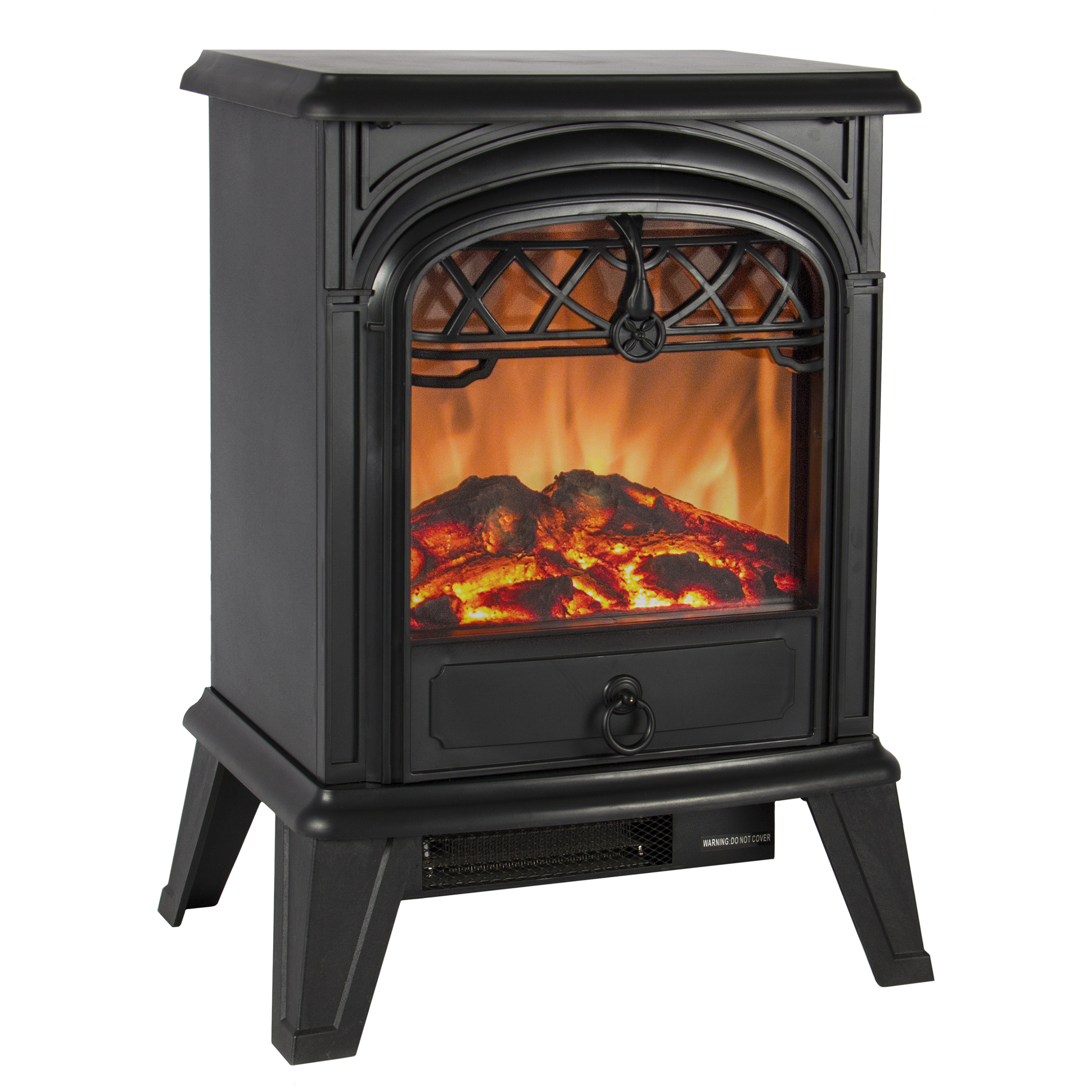 Best Choice Products 1500W Portable Free Standing Electric Wood Log Flame Fireplace Stove Heater - Black