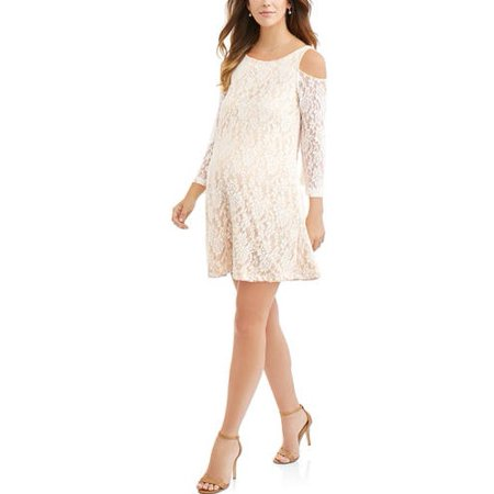 9855cde10f778 Planet Motherhood - Maternity Floral Lace Cold Shoulder A-Line Dress -  Available in Plus Sizes - Walmart.com