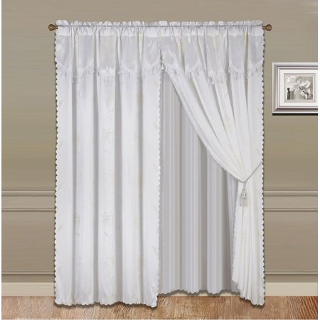 8 Piece White Nada Luxury Faux Jacquard Floral Design Panel  Rod Pocket Window Curtain Set Attached Valance  Panel  And Sheer  Includes 2 Tie Backs