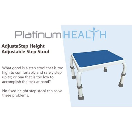 AdjustaStep (tm) Height Adjustable Step Stool All Steel Construction with Anti-Slip Foot Pads and Platform. Blue/White (Economical Steel Step)