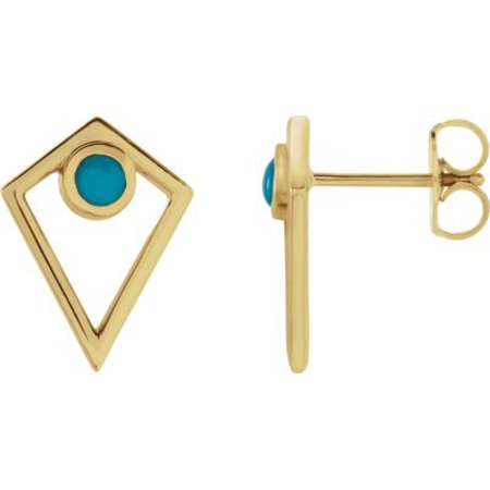 14K Yellow Gold Turquoise Cabochon Pyramid Earrings Gemstone Fashion Finished (Pair) Cabochon Designer Earrings