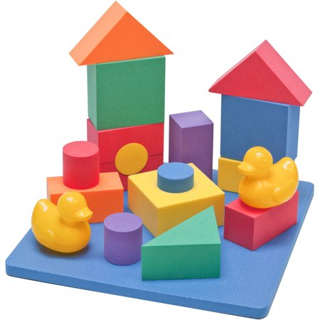 eWonderWorld Nontoxic Floating Waterproof Foam Building Blocks Bathtub Toys for Children with Tote Bag