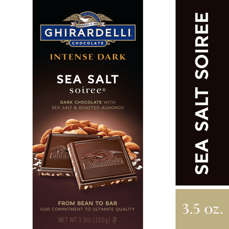 Ghirardelli Intense Dark Chocolate w/ Sea Salt and Roasted Almond Bar - 3.5oz