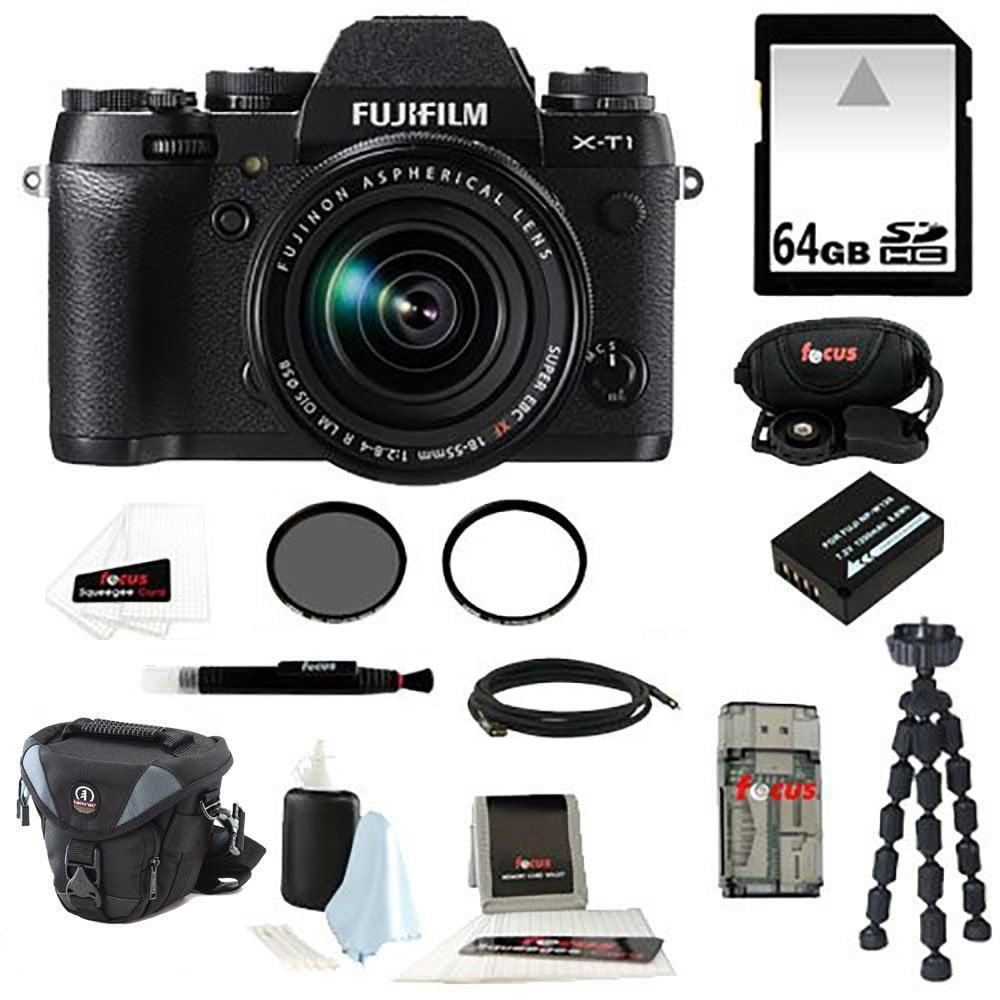Fujifilm X-T1 Digital Camera w\/ 18-55mm Lens (Black) plus 64GB Bundle