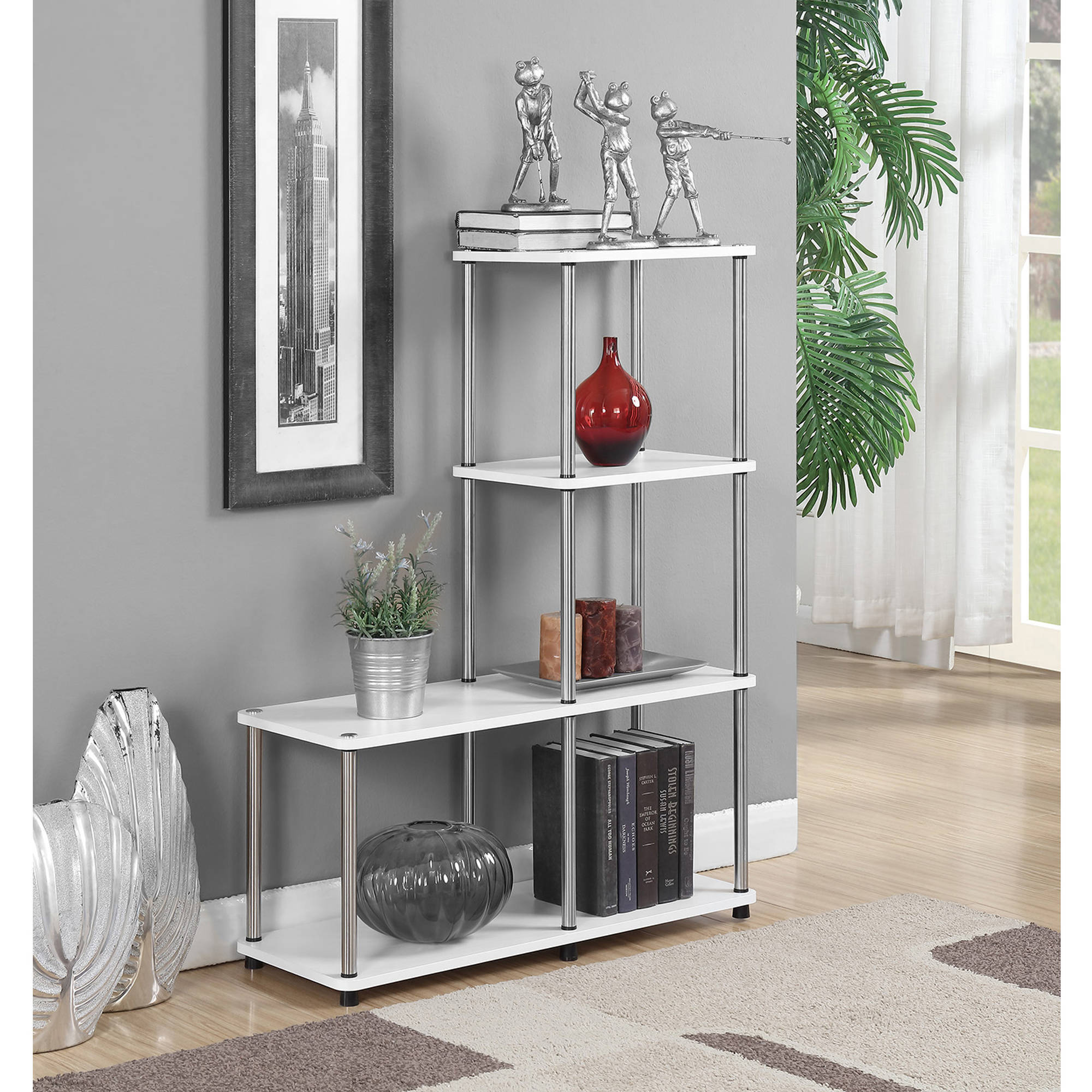 "Convenience Concepts Designs2Go No Tools Multi Shelf ""L"" Bookshelf, Black and Silver by Convenience Concepts"