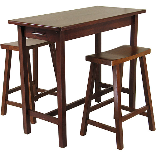 Kitchen Island 3 Piece Breakfast Set with Saddle Stools, Antique Walnut