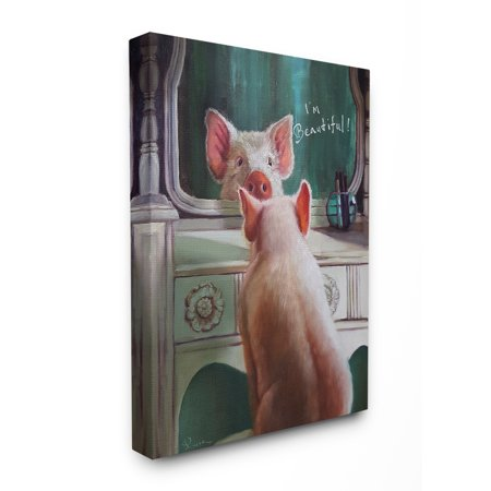The Stupell Home Decor Collection I'm Beautiful Painted Pig in Mirror Illustration Stretched Canvas Wall Art, 16 x 1.5 x 20 for $<!---->