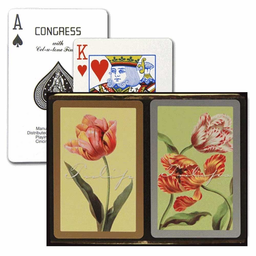 CONGRESS TULIPS BRIDGE PLAYING CARDS STANDARD INDEX SIZE DECKS WITH CEL-U-TONE FINISH