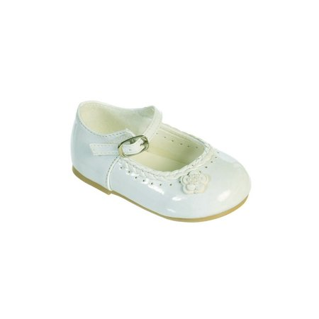 Black Patent Leather Girls Shoes (Little Girls Ivory Braided Edging Flower Patent Leather Dress)
