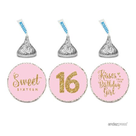 Chocolate Drop Labels Trio, Fits Hershey's Kisses, Sweet 16 Birthday, Blush Gold Glitter, 216-Pack