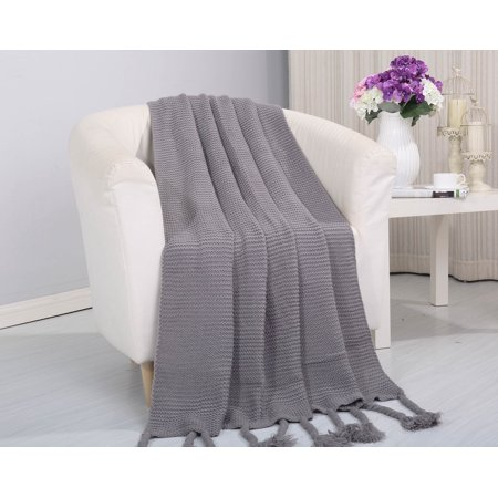 ClassicHome Woven Vintage Knitted Throw Blanket with Fringe (50