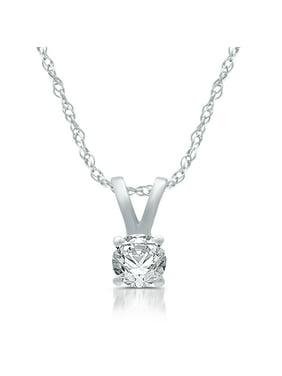 14Kt Gold Diamond Solitaire Pendant Necklace