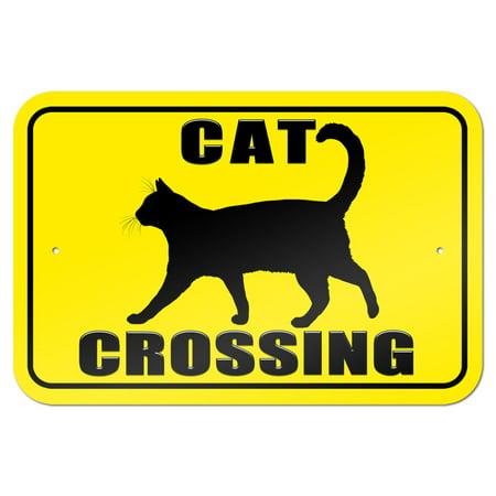"""Cat Crossing 9"""" x 6"""" Metal Sign"""