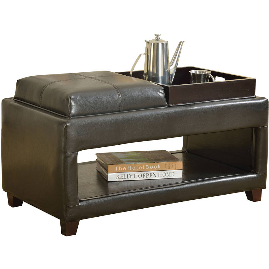 Gosse Bench with 2 Trays, Dark Brown Faux Leather