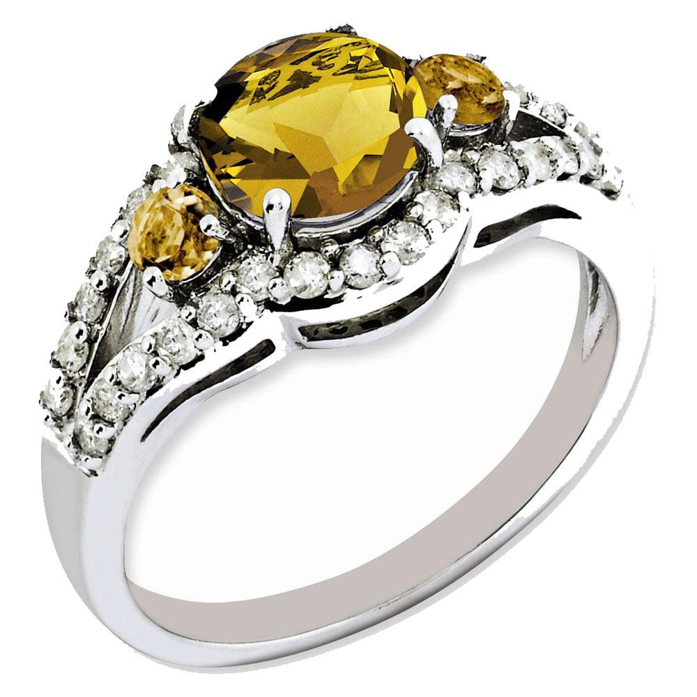 Goldia Sterling Silver Whiskey Quartz & Diamond Ring
