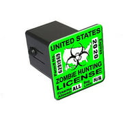 """Zombie Hunting License Permit Green - Biohazard Response Team 2"""" Tow Trailer Hitch Cover Plug Insert"""