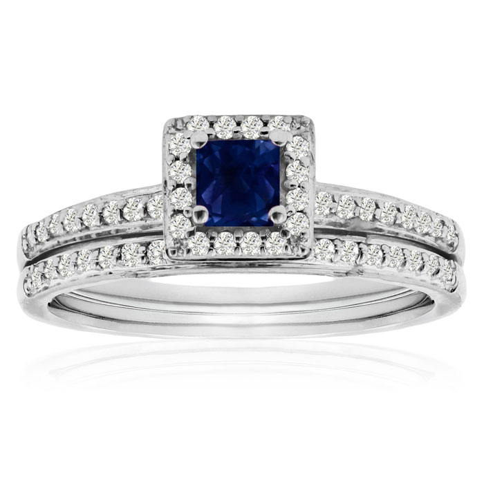 1 2ct Pave Sapphire and Diamond Bridal Set in 14k White Gold by
