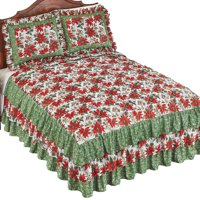 Collections Etc Poinsettia Ruffled Bedspread FLORAL FULL