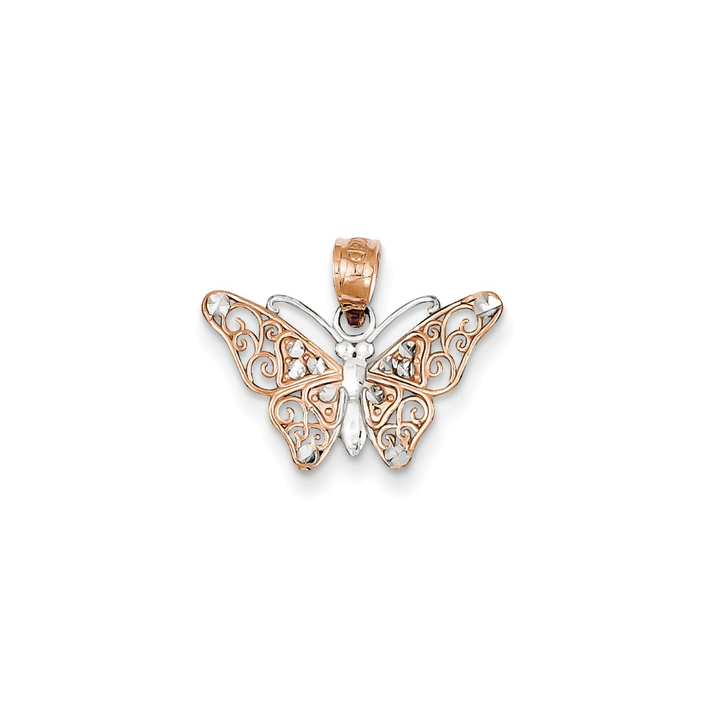 Goldia 14k Rose Gold & Rhodium Diamond-cut Butterfly Pendant