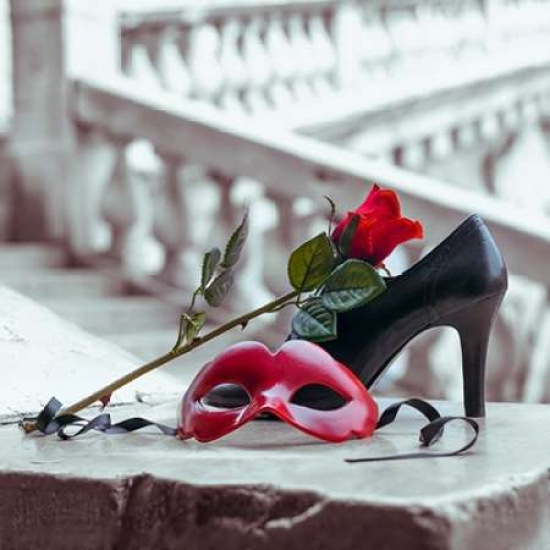 Venetian mask and high heel shoe with red rose Rialto bridge Venice Italy Canvas Art - Assaf Frank (24 x 24)