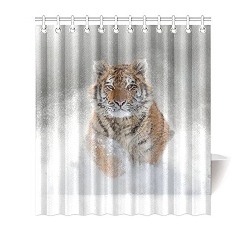 MYPOP Fantasy Amazing Running Tiger Ferocious Animals Winter Snow Art Print Shower Curtain, Unique and Generic Waterproof Polyester Fabric Decorative Bath Curtains Designs, 66W X 72L Inches