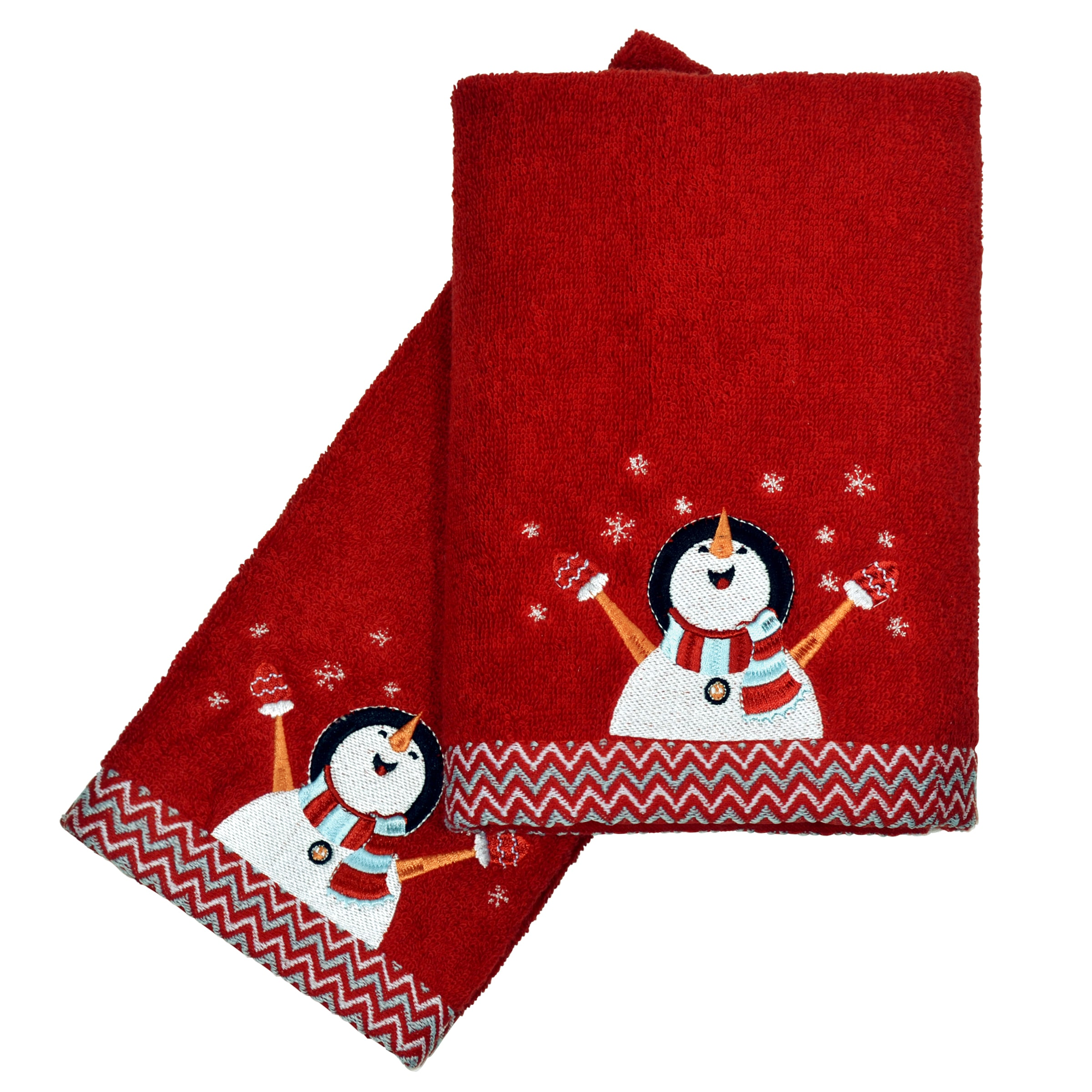 CHF Industries Peri Home Embroidered Snowman 2-piece Fingertip Towel Set