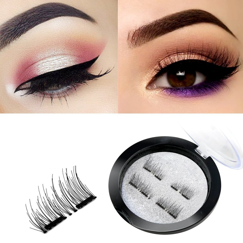 Asavea Double Dual Magnetic False Eyelashes, 1 pair (4 piece) Natural Handmade Extension 3D Reusable Ultra Thin Fake Magnetic Lashes No Glue