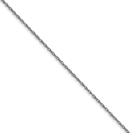 14k White Gold Cable Chain (0.6mm, 14k White Gold, Cable Rope Chain Necklace)