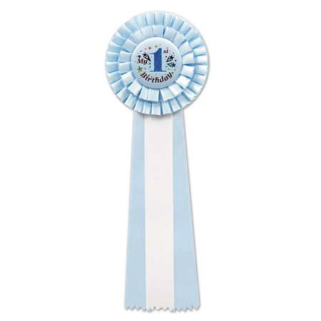 "Pack of 3 Two-Tone Blue ""My 1st Birthday"" Party Deluxe Rosette Ribbons 13.5"""