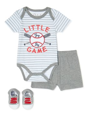 Contact Baby Baby Boy Short Sleeve Shirt, Shorts and Shoes Outfit Set, 3-Piece