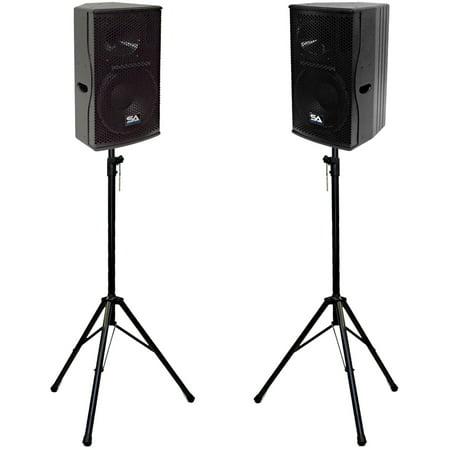 "Seismic Audio Pair of Premium 12"" Full Range / Bi-Amp 2-Way Loudspeaker Cabinets with Stands - Magma-12Pair-PKG1"